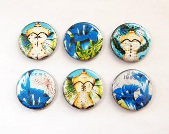 Fairy Magnets, Flower Magnets, Button magnets, Kitchen Magnet, Fridge Magnet, Blue, Green, Locker Magnets, Stocking Stuffer (3280)