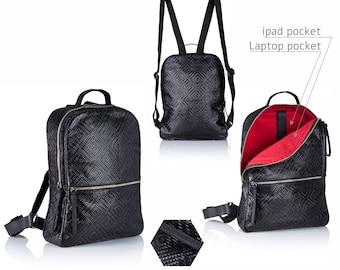 Black leather backpack - leather satchel  SALE black leather bag - leather rucksack - laptop backpack - women leather bag - women backpack