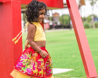 Ethnic Layered Tutu - Indian Sari Skirt - Cotton-Net-Tulle, Multicolored, Embroidered Wedding Scene - Girls 4T Skirt