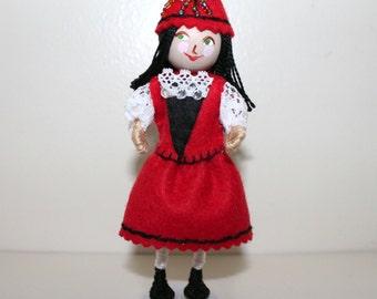 Handmade Felt Art Doll Polish Girl in Traditional Clothes, Handmade Doll Ornaments