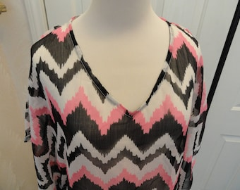 One Size Tunic . Boutique Tunic Top . Med Lg XL . 90's Semi Sheer Mini Dress . Hot Pink Black White Stripes . Hippie Tunic . Box 6