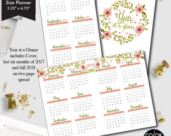 Personal size TN Year at a glance printable insert, 2017 and 2018 Planner Insert.  CMP-235.9