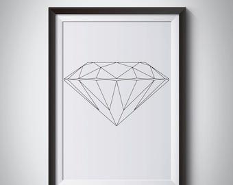 Scandinavian Black White Geometric art, Modern Geometric Print, Black Geometric Print, Abstract Geometric, Nordic Print, Black Diamond