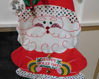 "Vintage 60's Christmas Santa Wall Hanging ""Happy Holly Day's"" with Sequins and Bells 20"""