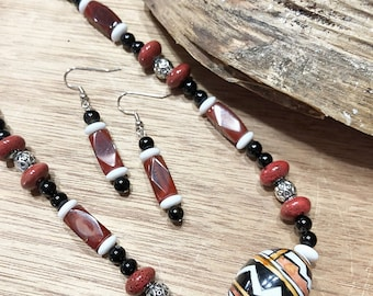Southwestern Inspired Necklace and Earring Set, Semi Precious Stone Necklace, Ceramic bead Necklace set, Earth Tone Necklace set