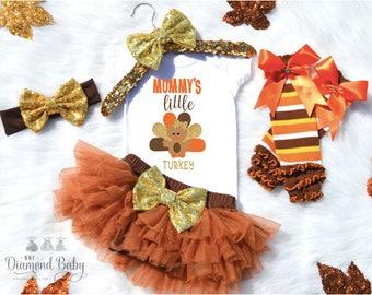 Mommy's Little Turkey Outfit- Little Turkey Onesie-Thanksgiving Onesie-Cutest Little Turkey-Fall Outfit-Fall Baby Outfit-First Thanksgiving
