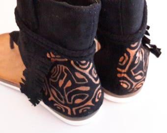 Sandals flip flops hand painted gaiter