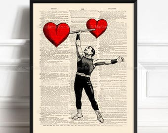 Circus Strongman, Funny Circus Poster, Love Circus, 3rd Anniversary Gift, Wedding Gift, Nerdy Poster, Grandfather Gift, Red Heart Poster 365