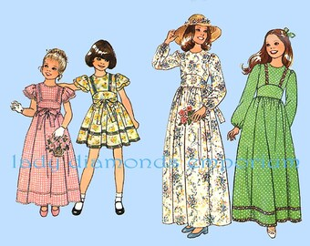 Simplicity 7954 Girls Mini Maxi Dress Childs size 7 & 8 Vintage 70's Boho Hippie Era Flower Girl Special Occasion Dress Sewing Pattern