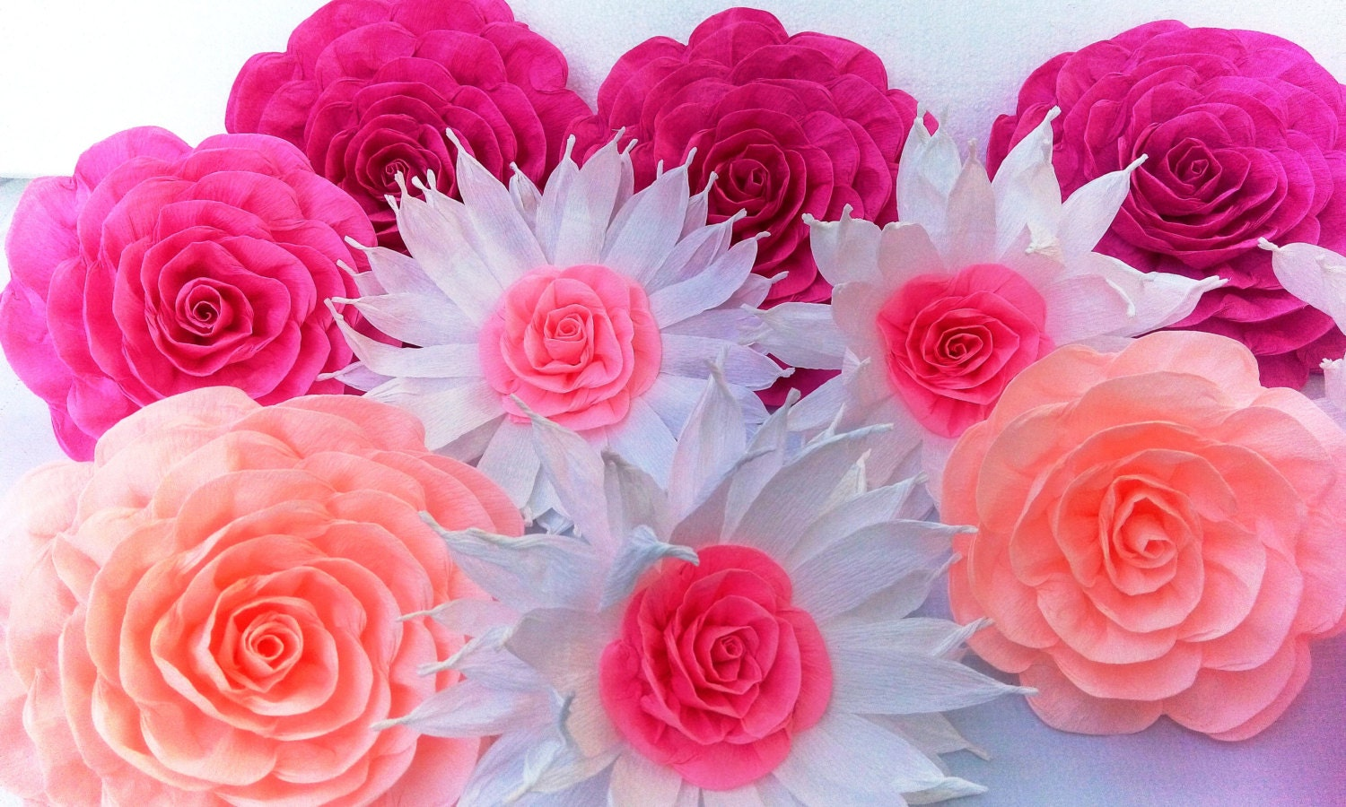 10 crepe paper flowers large Wall decor kate bridal baby