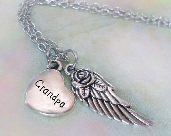 Grandpa Memorial Necklace, Engraved Heart & Angel Wing, Grief Gift, Forever in My Heart, Protected by Angels, Bereavement Gift, Grandpa Loss