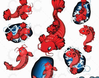 Japanese Koi Clipart - Red