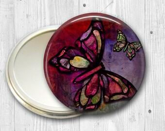 colorful butterfly pocket mirror,  original art hand mirror, mirror for purse, bridesmaid gift, stocking stuffer  MIR-316