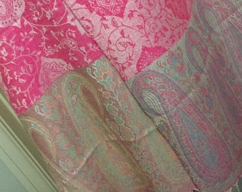 Reversible pashmina shawl cover up scarf Fichu poncho Two Tone Paisley pink multi pastels and tassels