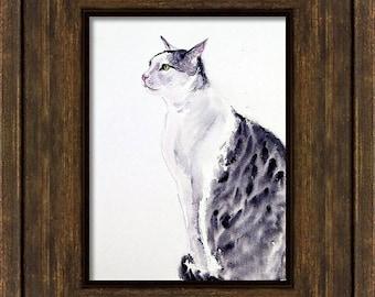 Watercolour Original Black Cat Painting, Handmade Unique Cat Art, Cat Lover Gift Art Wall Decor Minimalist Cat Art For Kids Tuxedo Cat Art