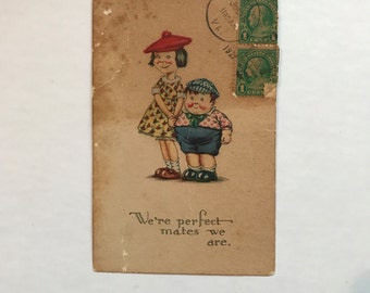 """Vintage Litho Valentine Postcard """"We're Perfect Mates We Are"""""""