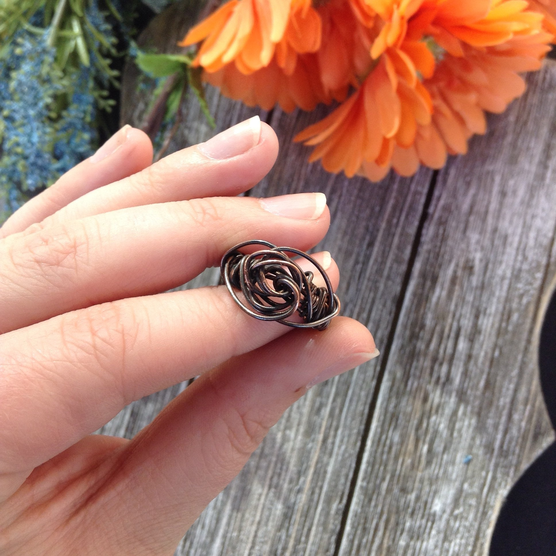 Handmade rose oxidized copper wire wrapped ring, boho jewelry