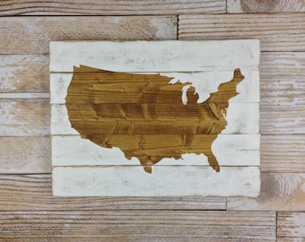 United States Map, Wood Plank Sign, Home Decor, Rustic Art, Wood Sign