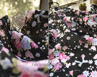 kimono Fabric, Cotton Fabric, Shabby Chic, Bright Sakura on White Pink Black  - 1/2 yard