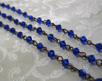 "One Meter 39.5"" Faceted Royal Blue Bicone Glass 5mm Beaded Rosary Chain Antique Bronze 999"