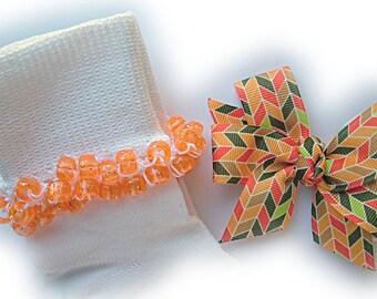 Kathy's Beaded Socks - Thanksgiving Herringbone Socks with Hairbow, school socks, clear pony beads, orange glitter pony beads