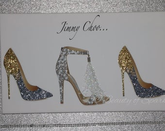 Glitter Jimmy Shoe Canvas Picture Wall Art White/Gold/Silver. Any Size.