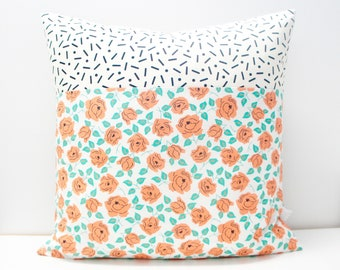 Pillow Cover - Patchwork Pillow Cover, 20x20, coral/orange roses, black and white confetti