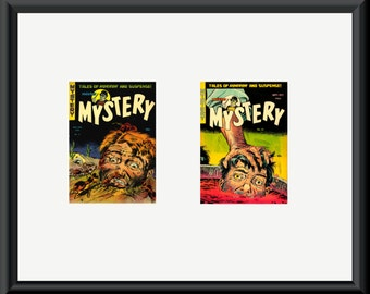Two Mister Mystery pulp horror magazine covers in dual mount. Special offer listing