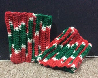 Christmas Boot Cuff | Red, Green, and White Boot Cuff