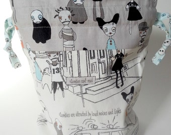 Zombie Drawstring Bag Book Toys Dice Cards Gift Grey Blue White