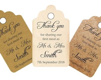 """Personalised vintage style  """"first meal wedding tags"""" with your name and date, wording can be changed to your requirements"""