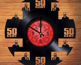 50 cent VInyl Record Clock Rap music gift for fans 50 cent gifts for men Bedroom decor = Size 12 inches = 50 cent rapper