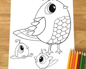 Cute Birds Coloring Page! Downloadable PDF file!