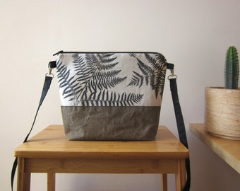Ferns crossbody bag Hand printed ferns Medium size vegan canvas bag Everyday bag