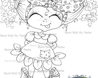 INSTANT DOWMLOAD Digital Digi Stamps Big Eye Big Head Dolls Digi img523  By Sherri Baldy