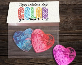 DIGITAL FILE-Valentine Gift For Students - Teacher Valentine - Classroom Valentines - Valentines Crayons - Color Your Heart Out