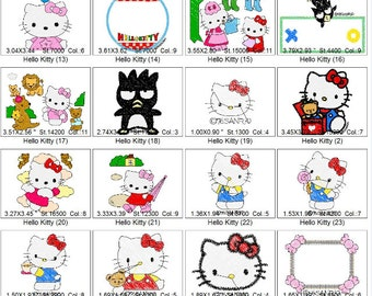 Embroidery Design Hello Kitty - PES Format - 29 Images - 4 x 4 Hoop Size - June 10 to 29th 2018 - Take 25% Off Spend 6.00 or more  CODE25