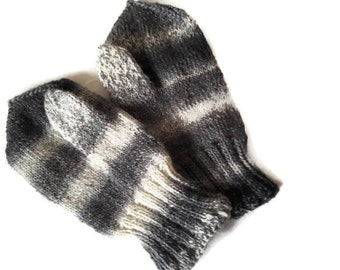 Knit  mittens. Warm mittens. Men's mittens. White mittens. Gray mittens. Black mittens. Winter mittens.