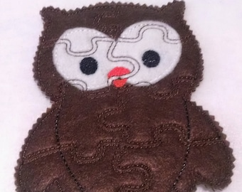 Brown Owl Felt Puzzle game - Perfect for party favors - school treats - busy bags or quiet books- learning activity - #P771