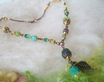 Necklace Glass Flower Bead Necklace with Bronze Wing Angel Necklace Glass Boho Hippie Beads Short Choker Style Blue Green Yellow Beads