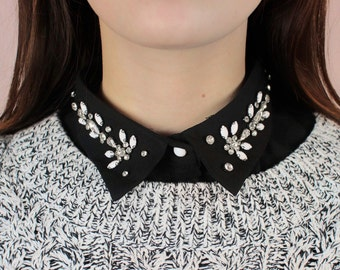 Faux shirt collar black with strass & pearl / Malicieuse accessories