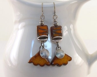 Handmade Ceramic Earrings, Burnt Orange Rustic Earrings, Silver Earrings, Boho Earrings, Artisan Earrings, Antique Silver, Stoneware -AE192