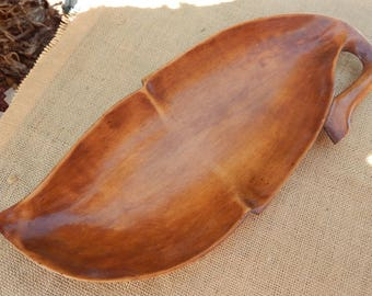 Large Wood Leaf Platter  ~  Large Wood Leaf Serving Platter  ~  Large Wood Leaf Valet  ~  Large Wood Leaf Tray