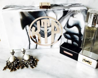 Marble Acrylic Clutch Monogramed