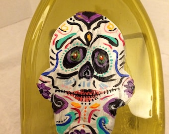 Hand Painted Sugar Skull Amber Glass Wine Bottle Cheese Tray/Platter