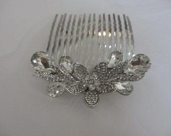 Wedding Hair Comb, Lotus Hair Comb  Wedding Hair Comb, Bridal Veil , Bridal Hair Accessories, Veil Comb
