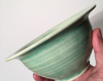Handmade ceramic trinket dish berry bowl candy dish fruit bowl handthrown stoneware pottery sea-foam celadon green gift for her