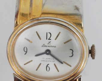 Lausanne vintage ladies wrist watch, 17 Jewels, gold-toned & stainless steel case, cuff-style band