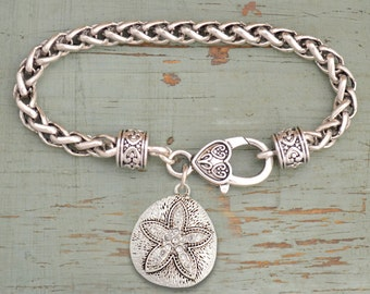 Sand Dollar Rhinestone Charm Bracelet