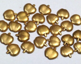 Vintage Brass APPLE Jewelry Fruit Stamping New Old Stock 8x7mm pkg25  M109